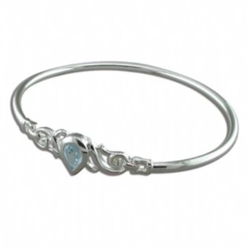 Sterling Silver Pear Shape Blue Topaz Bangle
